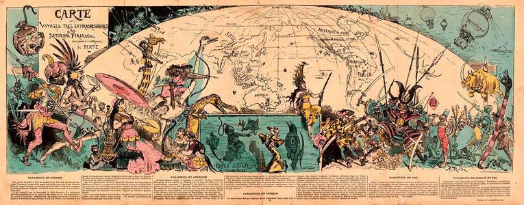 Carte des voyages très extraordinaires de Saturnin Farandoul