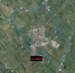 Mapa cyklosérie Okolo Trnavy