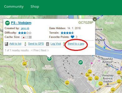 Link Send to c:geo na mape