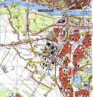 Mapa opevnenia Petržalky | Zdroj: bunkre.info