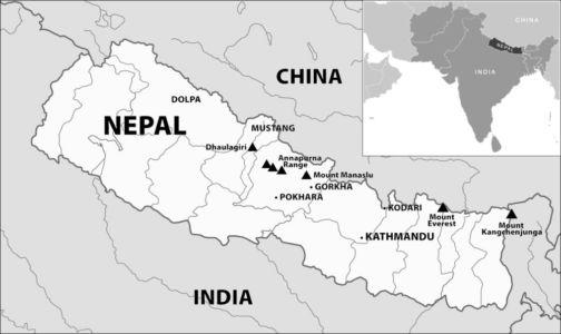 Nepál leží medzi Čínou a Indiou
