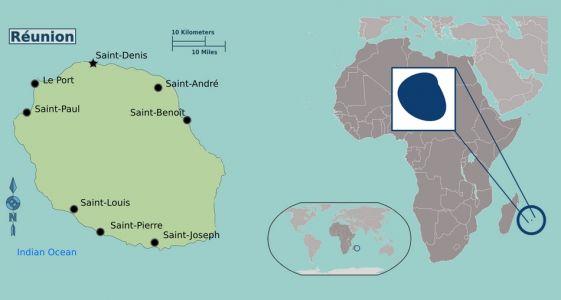 Mapa ostrova Réunion