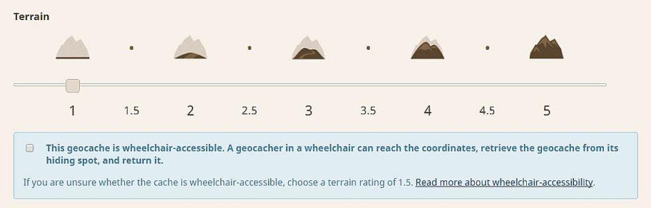 geocaching, správa listingu, atribút vozíčkara
