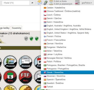 Výber jazyka: Stránka je kompletne v Slovenčine