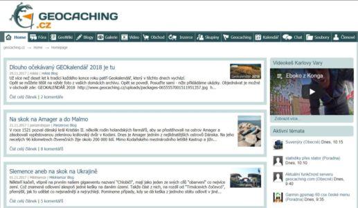 Jašterička na súčasnej stránke Geocaching.cz
