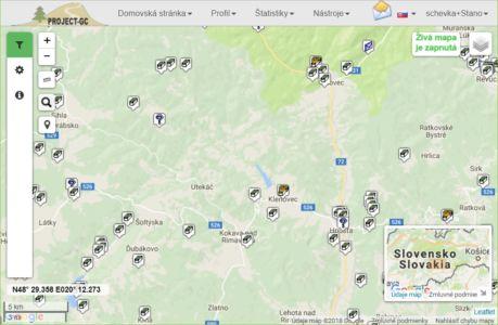 Živá mapa na stránke Project-GC