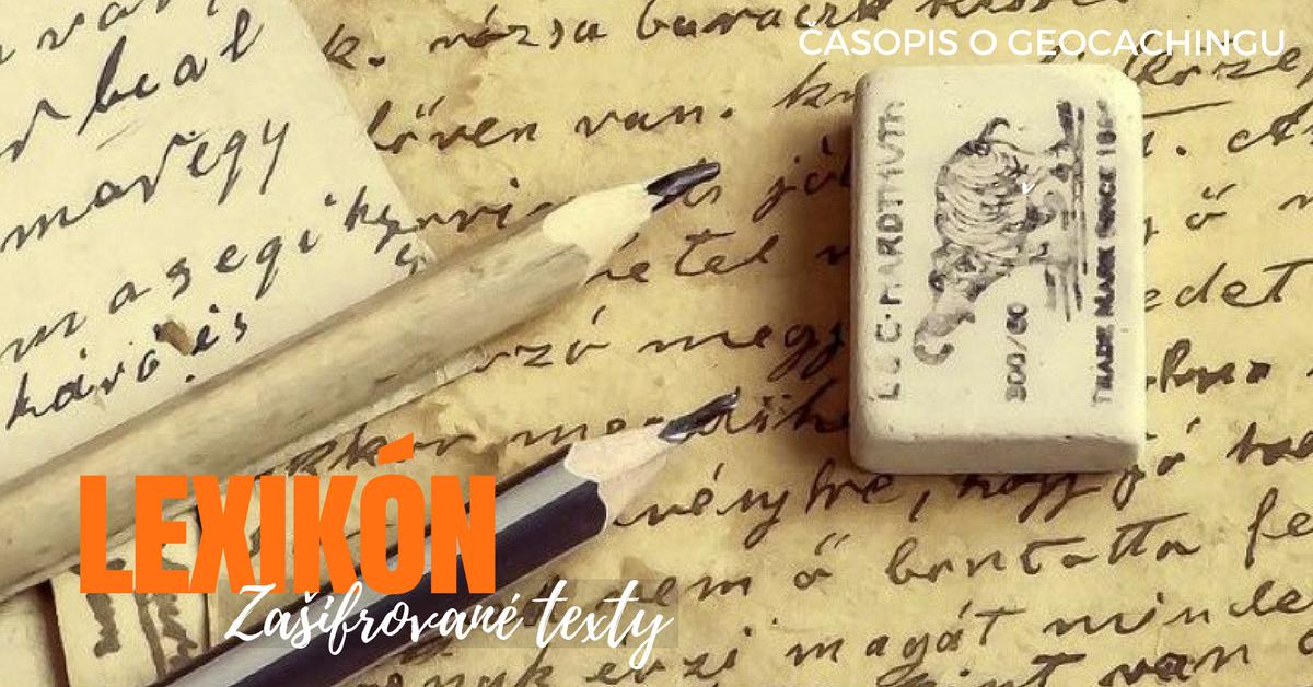 Lexikón, zašifrované texty, kódovanie, mystery, geocaching
